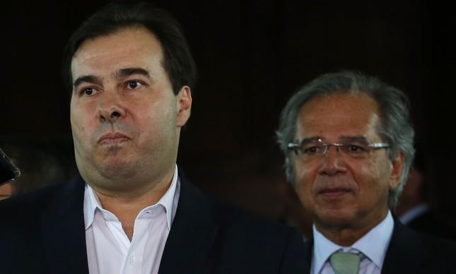 O deputado Rodrigo Maia e o ministro Paulo Guedes