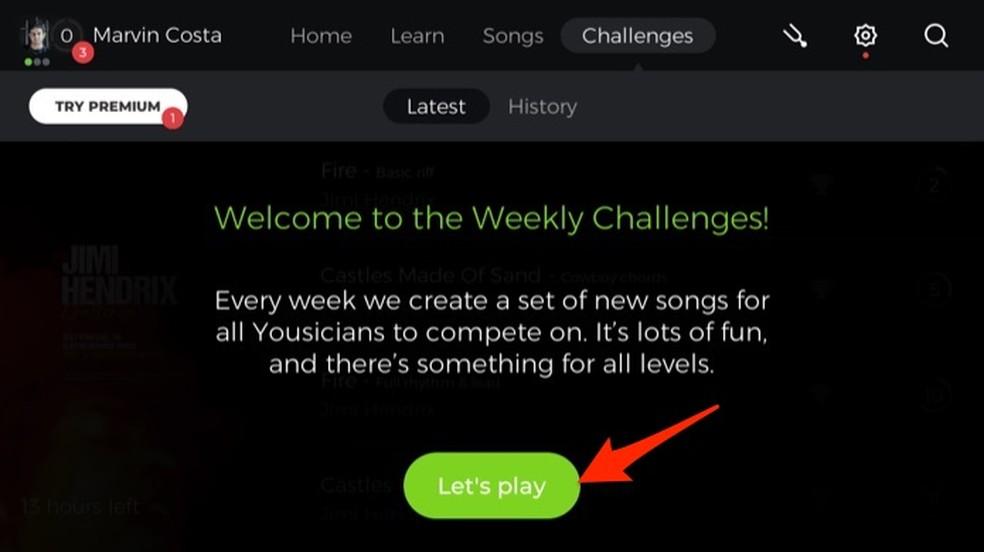 Ação para abrir a tela com desafios do aplicativo Yousician — Foto: Reprodução/Marvin Costa