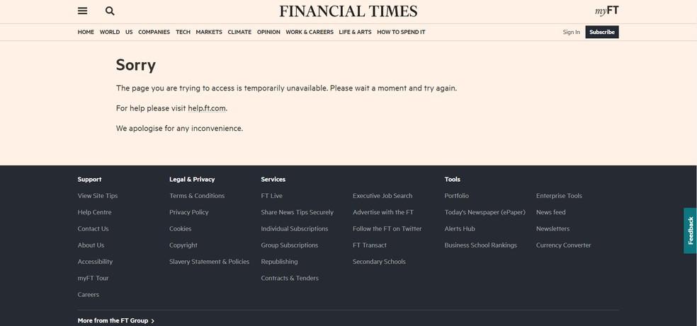 """Site do jornal britânico """"Financial Times"""" fora do ar na manhã desta terça (8) — Foto: Reprodução/ft.com"""