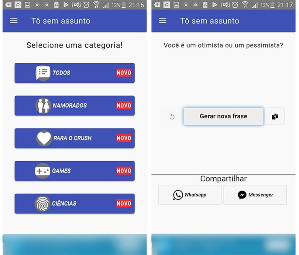 O aplicativo Tô Sem Assunto permite que o usuário copie as frases ou as compartilhe no WhatsApp e Messenger (Foto: Reprodução/Caroline Brizon)