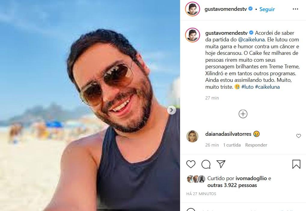 Gustavo Mendes lamenta morte de Caike Luna (Foto: Reprodução/Instagram)