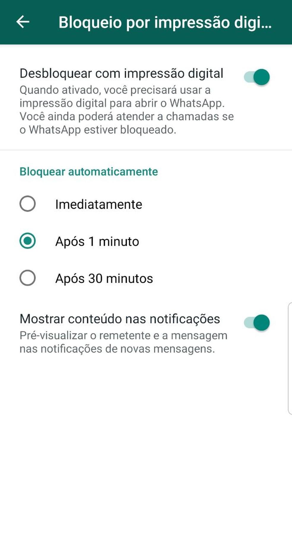 É possível escolher quanto tempo vai levar para o WhatsApp bloquear o acesso às conversas depois do último uso do aplicativo. — Foto: Reprodução
