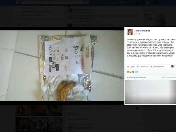 Pacote contendo a carta anônima e as frutas foi deixado na porta da casa de Janete (Foto: Reprodução/Facebook)