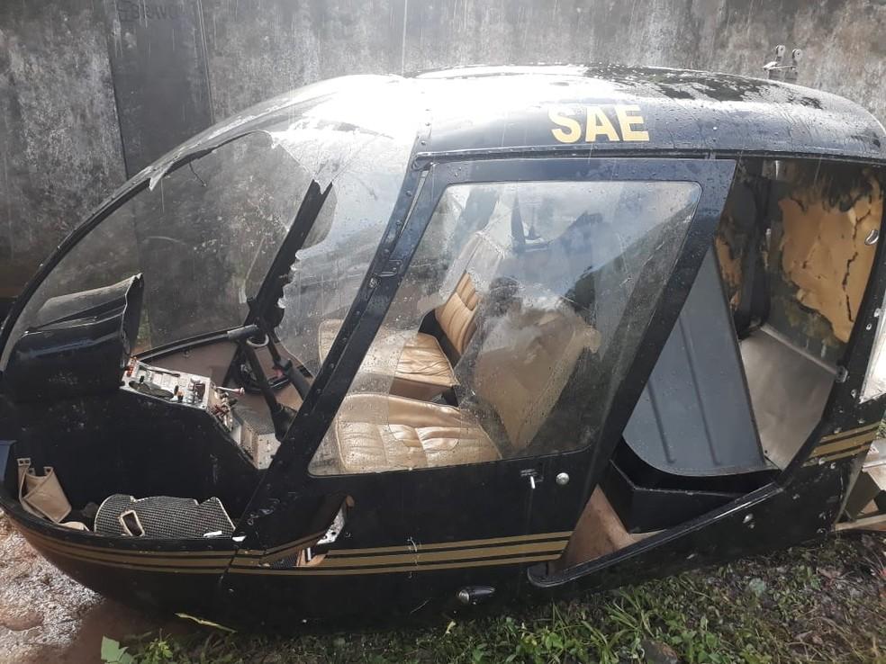 Helicóptero encontrado desmontado em Alto Alegre — Foto: Polícia Civil/Divulgação