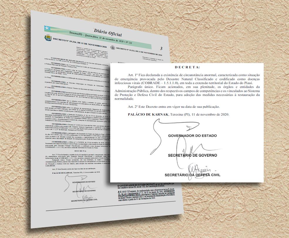 Decreto foi divulgado no Diário Oficial dessa quarta-feira (11) — Foto: Reprodução