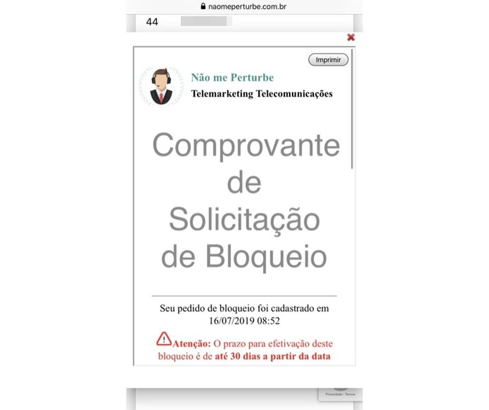 Comprovante de solicitação de bloqueio â?? Foto: Reprodução/Helito Beggiora