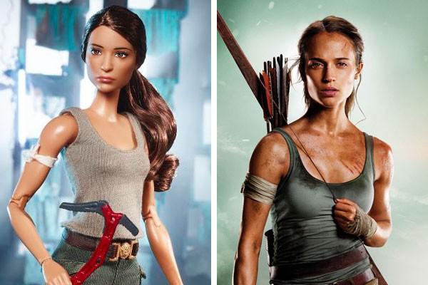 Lara Croft versão Barbie e Lara Croft versão Alicia Vikander (Foto: Divulgação)