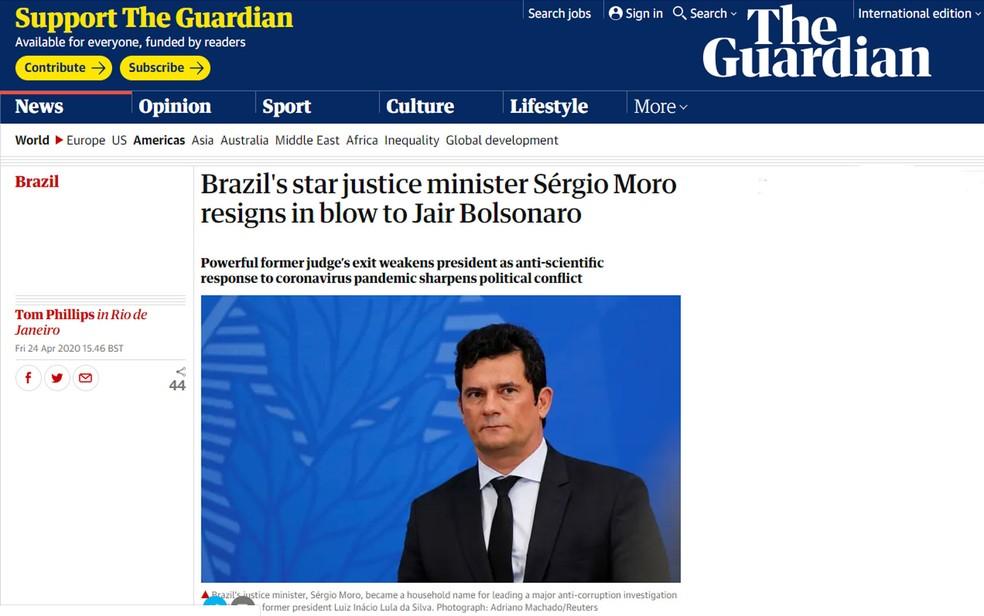 Jornal britânico 'The Guardian' se referiu a Sérgio Moro como 'estrela' ao fazer o anúncio da sua saída do governo de Jair Bolsonaro — Foto: Reprodução G1