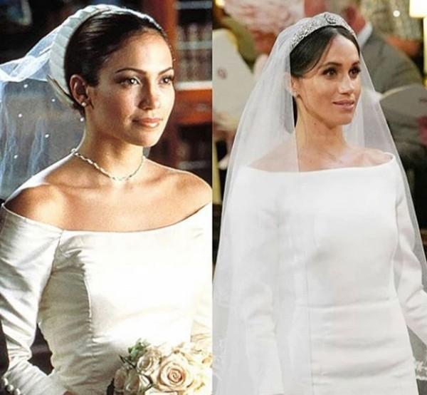 O vestido Meghan Markle e de Jennifer Lopez em O Casamento dos Meus Sonhos (2001) (Foto: Reprodução Instagram)