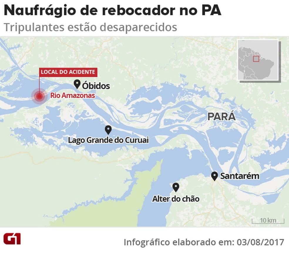 Naufrágio de rebocador no Pará (Foto: Arte/G1)