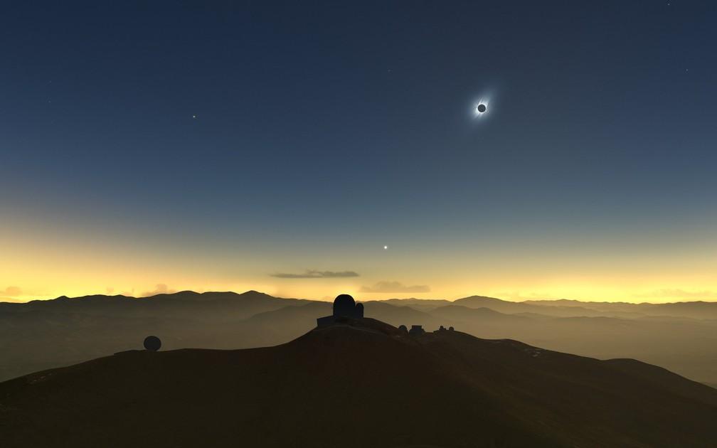 Previsão de como será a visualização do eclipse no Observatório La Silla, no Chile — Foto: ESO
