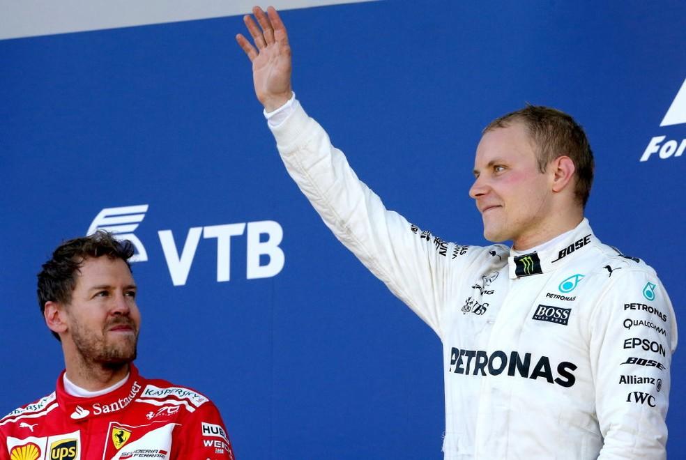 Bottas, da Mercedes, superou Sebastian Vettel e venceu GP da Rússia de 2017 — Foto: Alexander Demianchuk\TASS via Getty Images