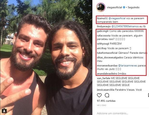 Fãs comparam Cauã Reymond e ex-BBB Viegas (Foto: Reprodução/Instagram)