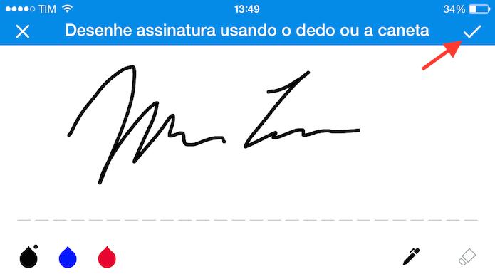 Vinculando uma assinatura ao SignEasy (Foto: Reprodução/Marvin Costa)