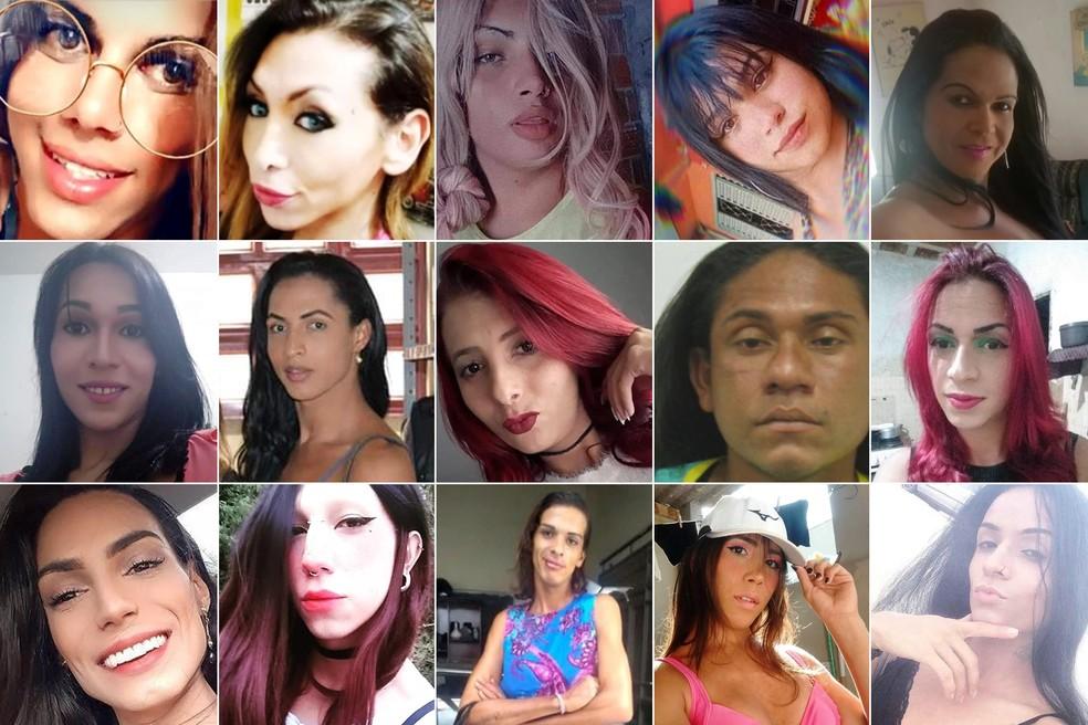 Associação relata que uma mulher trans foi morta a cada 2 dias no Brasil em 2020; na montagem, imagens de vítimas cujas mortes foram reportadas pelo G1 ao longo do ano — Foto: G1