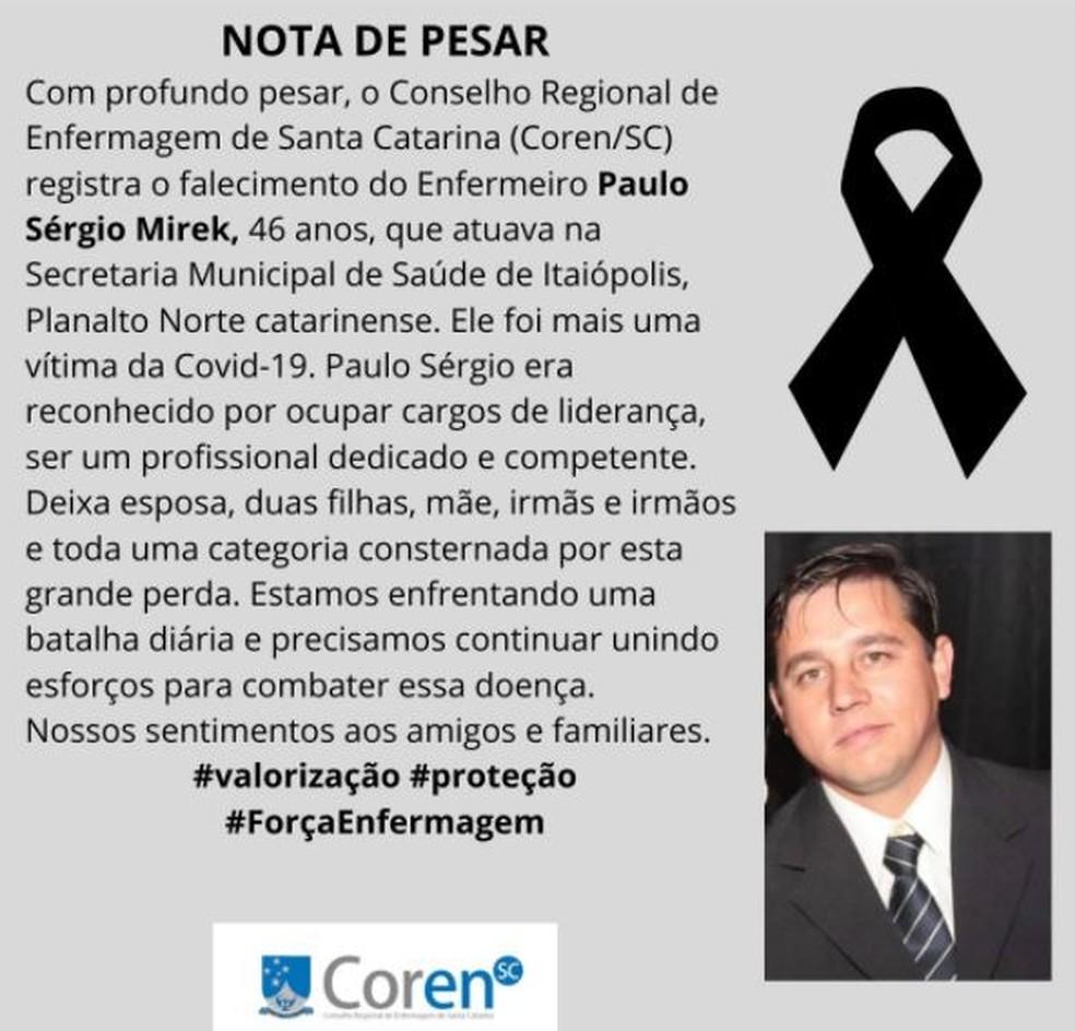 Nota de pesar pela morte do enfermeiro foi divulgada pelo conselho que representa a categoria em Santa Catarina — Foto: Coren-SC/ Divulgação