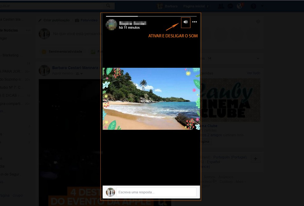Facebook Stories do amigo aparecerá na tela do PC com controle de som (Foto: Barbara Mannara/TechTudo)