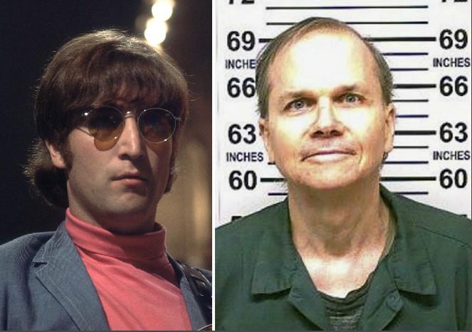 O músico John Lennon e o criminoso Mark David Chapman (Foto: Getty Images/Divulgação)