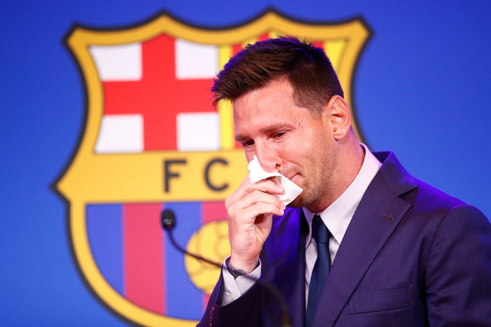 Messi entrevista coletiva despedida Barcelona choro chora — Foto: Eric Alonso/Getty Images