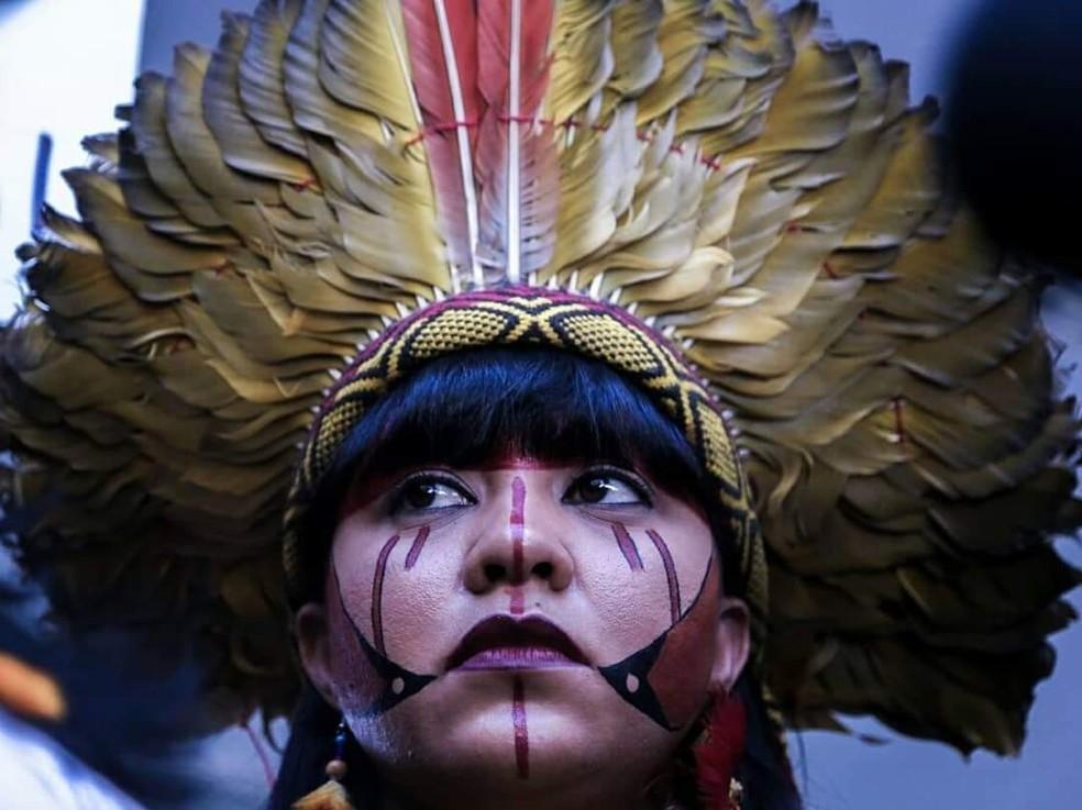 Célia Xakriabá é uma das lideranças indígenas em Minas Gerais — Foto: Célia Xakriabá/Arquivo pessoal