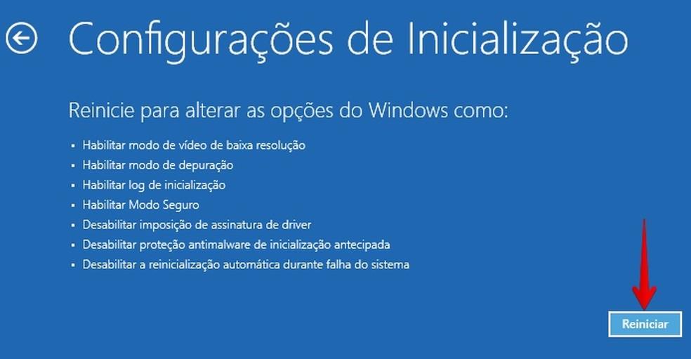Reinicie o PC em modo avançado (Foto: Reprodução/Helito Bijora)