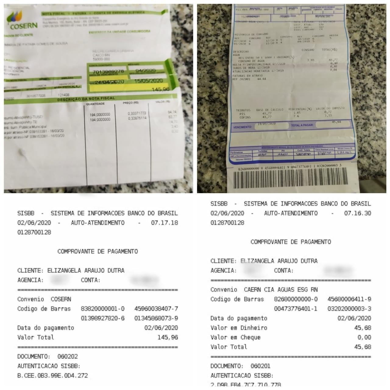 Padeiro encontra contas de água e luz enroladas em dinheiro na rua, paga e avisa à dona no RN