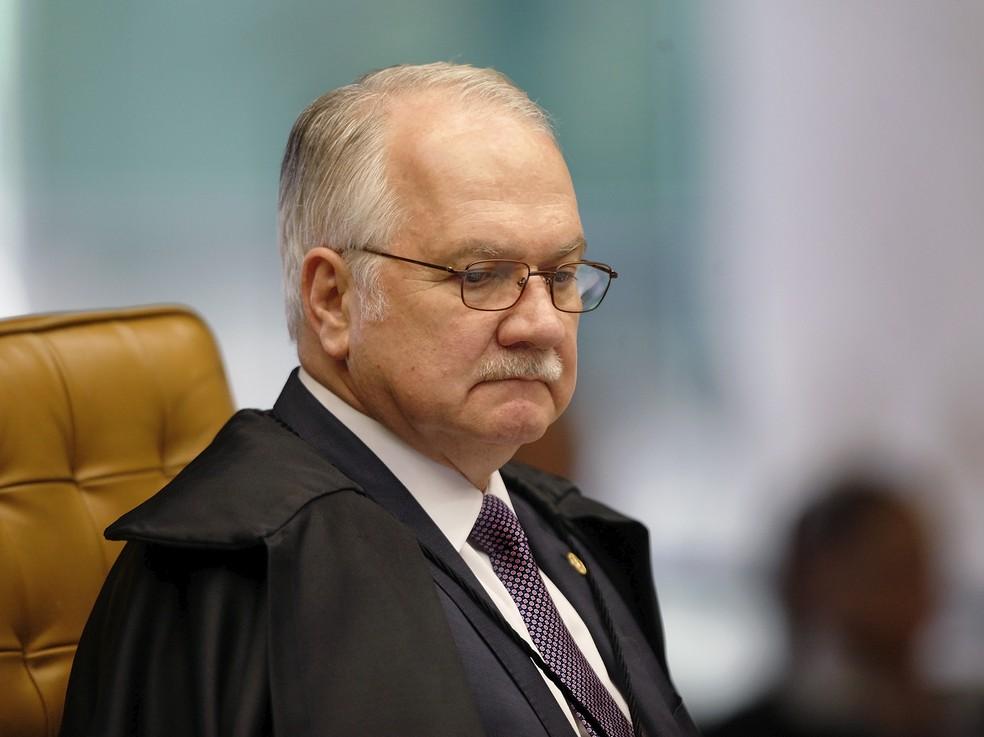 O ministro Luiz Edson Fachin durante sessão do Supremo Tribunal Federal — Foto: Rosinei Coutinho/SCO/STF