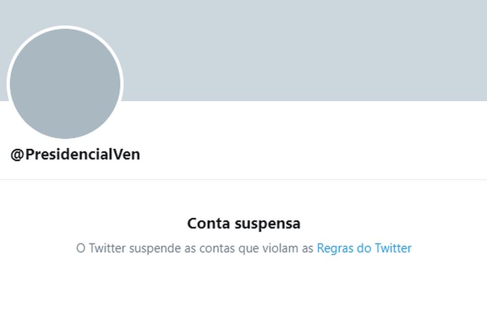 Twitter suspende contas ligadas a Maduro — Foto: Reprodução/Twitter
