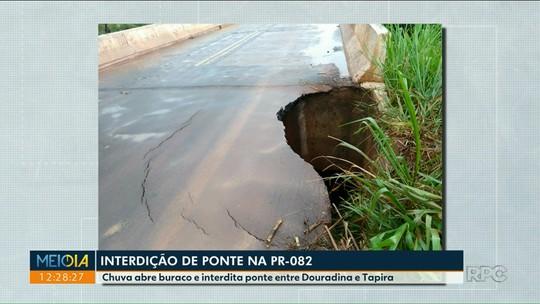DER interdita ponte na PR-082, entre Douradina e Tapira, no noroeste