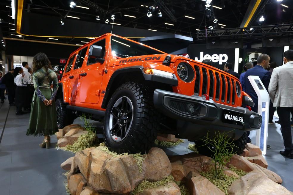 Nova geração do Jeep Wrangler no Salão do Automóvel 2018 — Foto: Marcelo Brandt/G1
