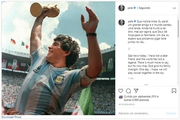 Pelé homenageia Maradona (Foto: Reprodução/Instagram)