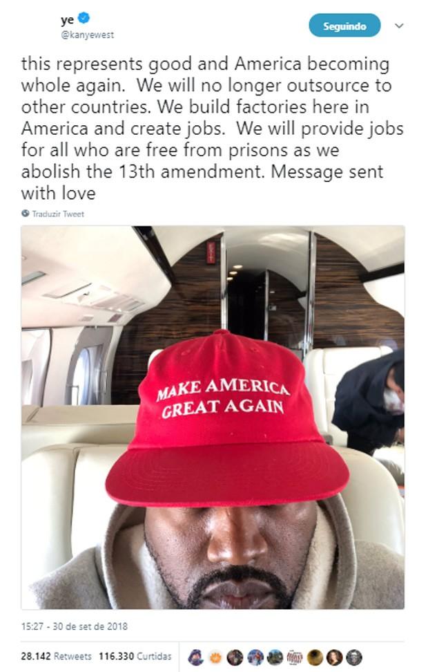 Kanye West demonstra apoio a Donald Trump e fala de abolir 13a emenda (Foto: Reprodução/Twitter)