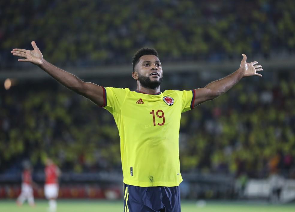 Borja na vitória da Colômbia em cima do Chile, pelas Eliminatórias da Copa de 2022 — Foto: REUTERS/Luisa Gonzalez