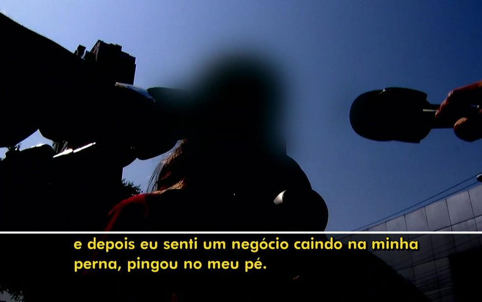 Vítima de homem que ejaculou em ônibus (Foto: TV Globo/Reprodução)