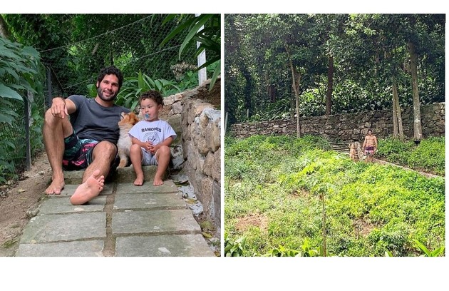 O ator, de 42 anos, diz: 'Gosto de ficar com meu filho na horta, onde temos também árvores frutíferas. É um hábito gostoso' (Foto: Reprodução)