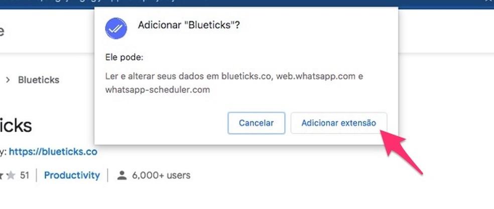 Ação para instalar a extensão Blueticks no WhatsApp Web — Foto: Reprodução/Marvin Costa