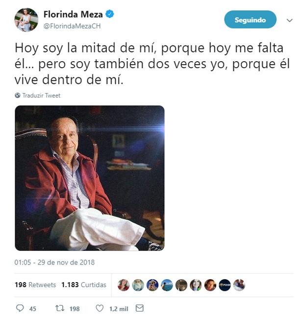 Florinda Meza faz homenagem a Roberto Bolaños (Foto: Reprodução/Twitter)