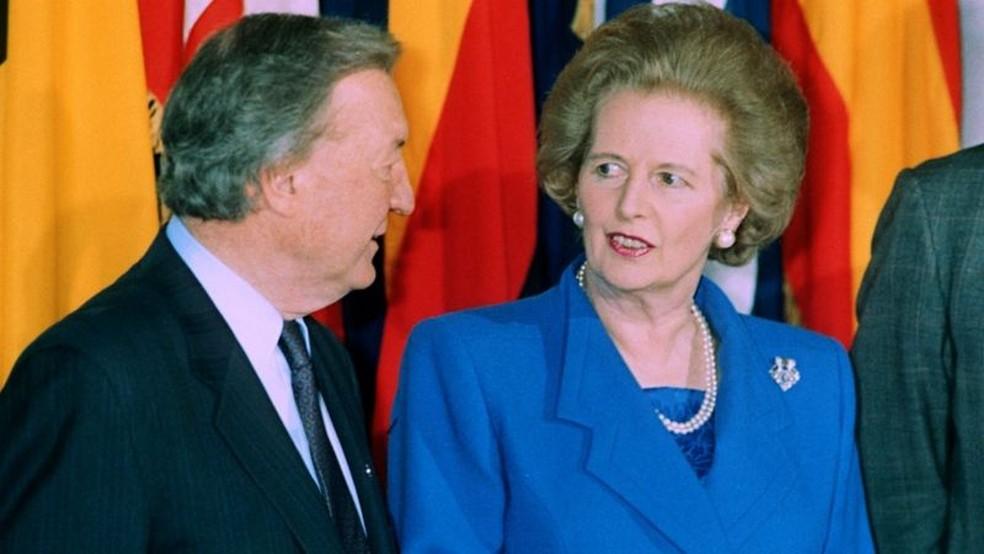 Documentos recém-divulgados vêm de uma anotação de conversas entre irlandês Taoiseach Charles Haughey e Margaret Thatcher de 1990 — Foto: PA Media via BBC
