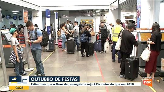 Oktoberfest e festas de outubro impulsionam movimentação de passageiros em aeroportos de SC