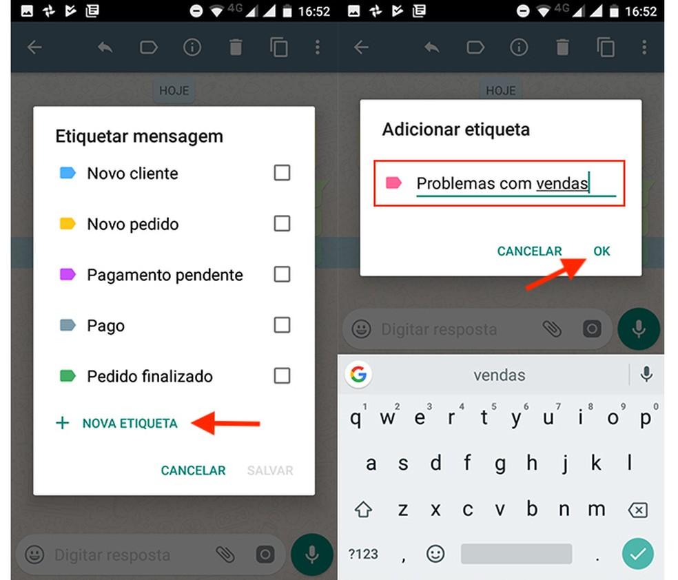 Opção para criar uma nova etiqueta no WhatsApp Business