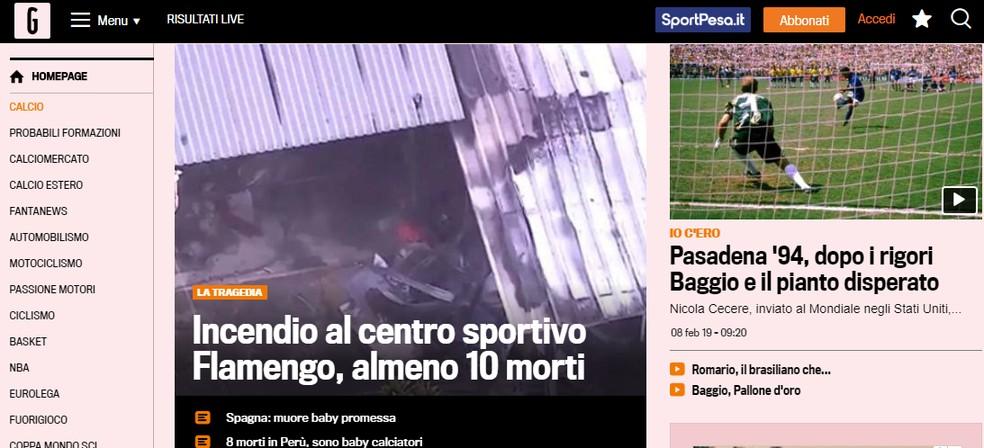 """Jornal italiano """"La Gazzetta dello Sport"""" destaca incêndio no Centro de Treinamento do Flamengo — Foto: Reprodução"""