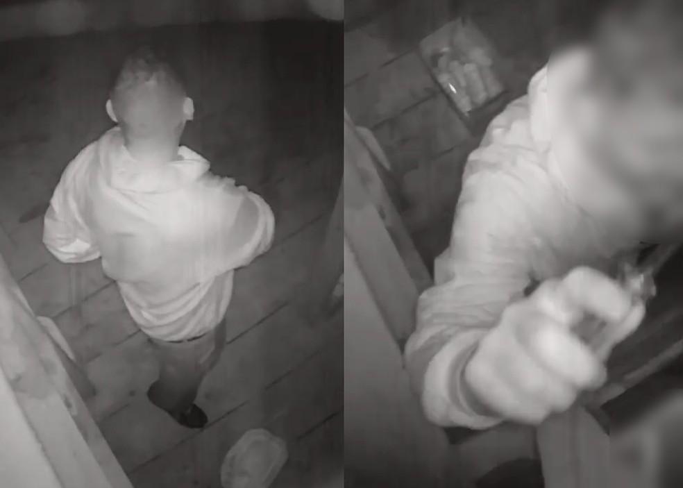 Câmera de segurança flagrou furto em Bernardino de Campos — Foto: Câmera de segurança/Reprodução