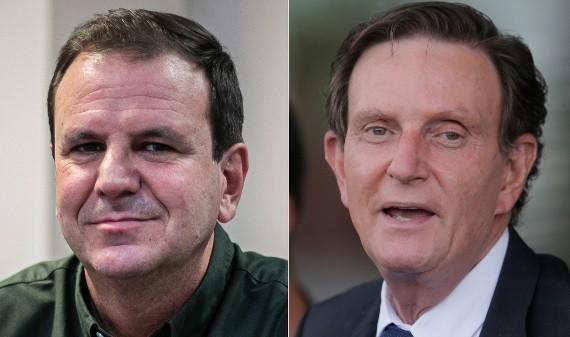 Os candidatos Eduardo Paes e Marcelo Crivella
