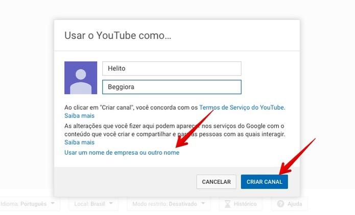 Criando um canal no YouTube pelo PC (Foto: Reprodução/Helito Beggiora)