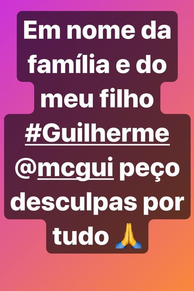 Claudia Baronesa, mãe de Gui, pede desculpas (Foto: Reprodução/Instagram)