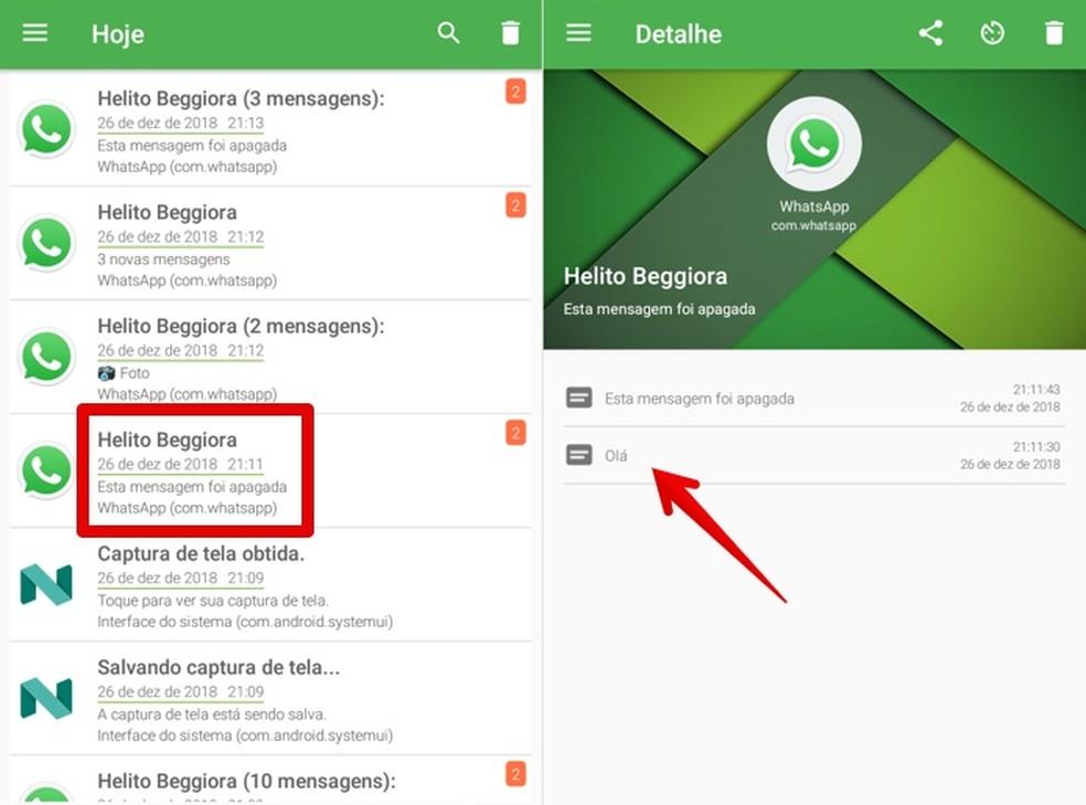 Visualizando mensagem de texto apagada utilizando o Notification History — Foto: Reprodução/Helito Beggiora