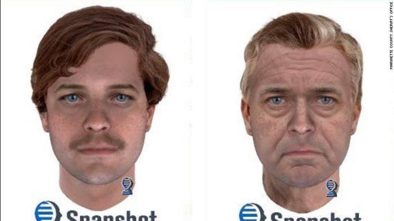 Face do suspeito foi simulada com 25 anos e 65 anos  (Foto: Reprodução/ Parabon)