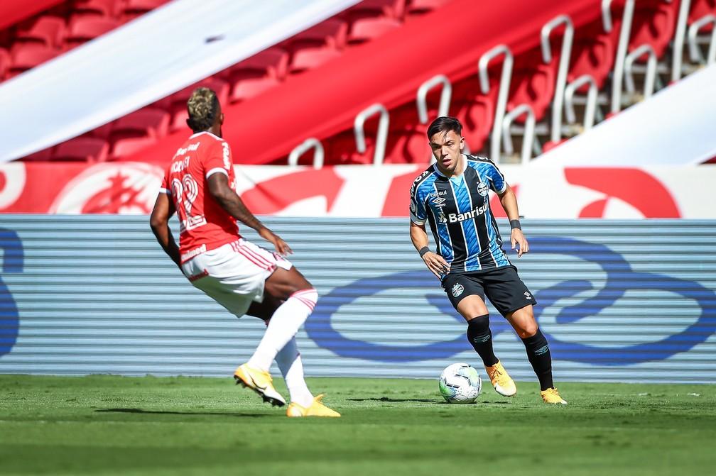 Pepê pouco produziu no Gre-Nal — Foto: Lucas Uebel/Divulgação Grêmio