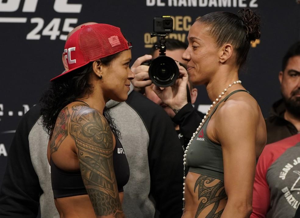 Amanda Nunes e Germaine de Randamie se enfrentam pelo cinturão peso-galo no UFC 245 — Foto: Getty Images