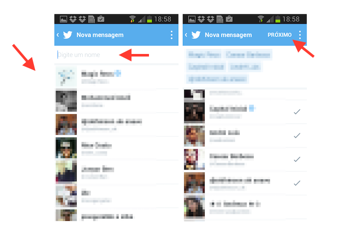 Adicionando contatos a uma mensagem direta em grupo no Twitter para Android (Foto: Reprodução/Marvin Costa)